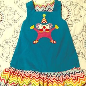 Other - Smocked reversible birthday clown dress. Size 2t